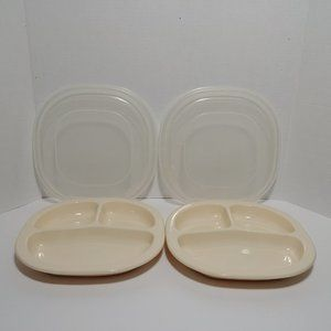 2 Rubbermaid Microwave Heatables Divided Plates